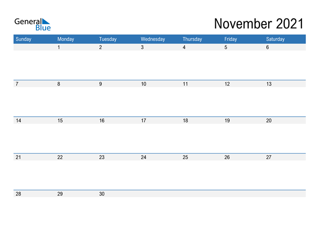 Fillable Calendar for November 2021