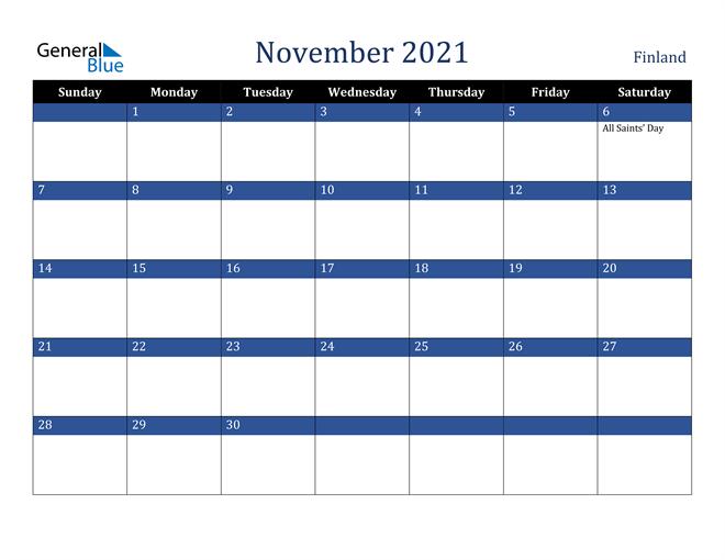 November 2021 Finland Calendar