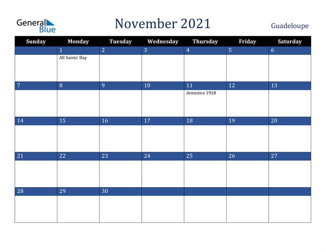 November 2021 Guadeloupe Calendar