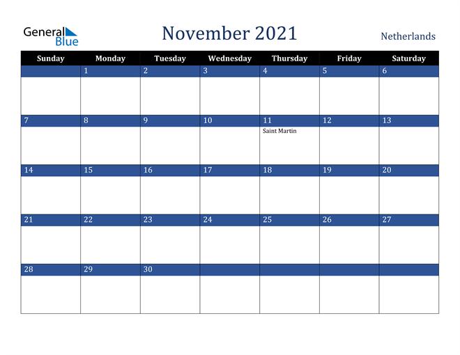 November 2021 Netherlands Calendar