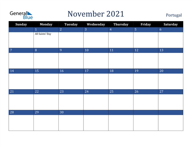November 2021 Portugal Calendar