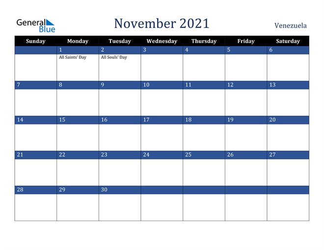 Image of November 2021 Stylish Dark Blue Calendar in PDF, Word and Excel Calendar