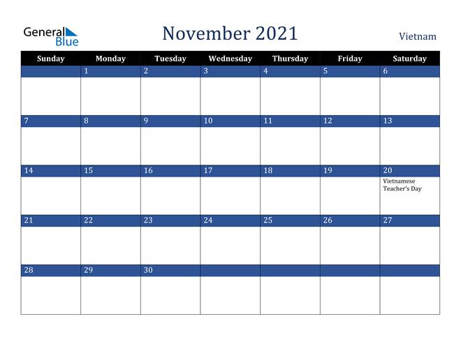 November 2021 Vietnam Calendar