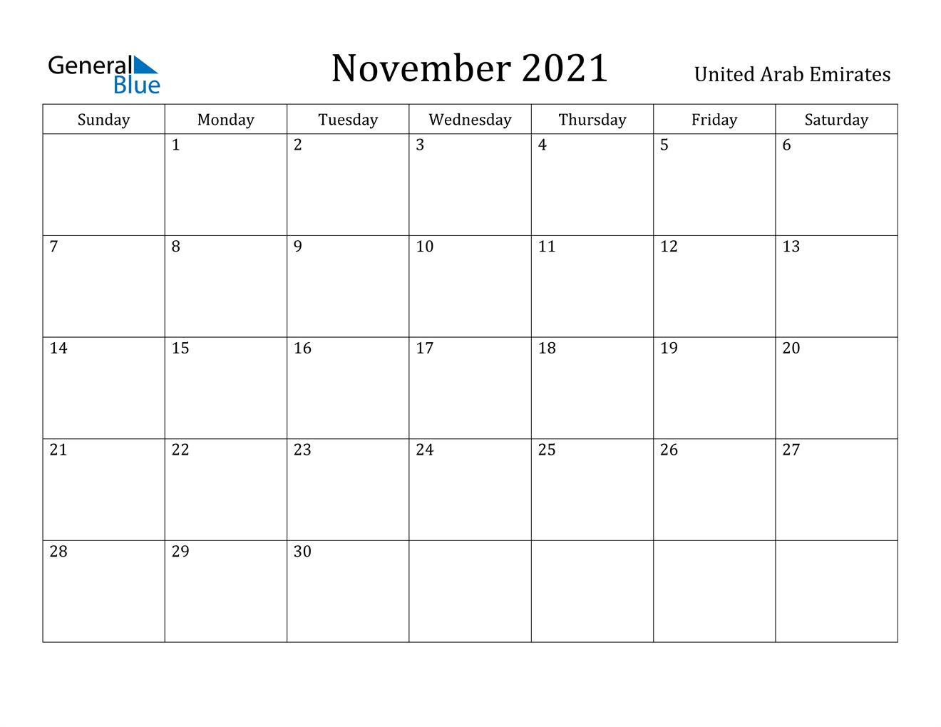 November 2021 Calendar - United Arab Emirates