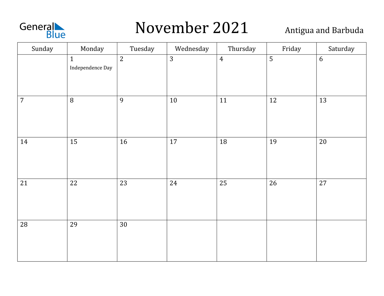 November 2021 Calendar - Antigua and Barbuda