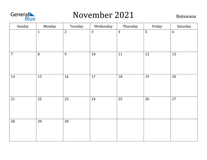 Image of November 2021 Botswana Calendar with Holidays Calendar
