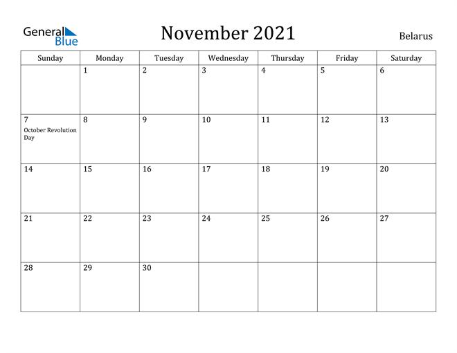 Image of November 2021 Belarus Calendar with Holidays Calendar