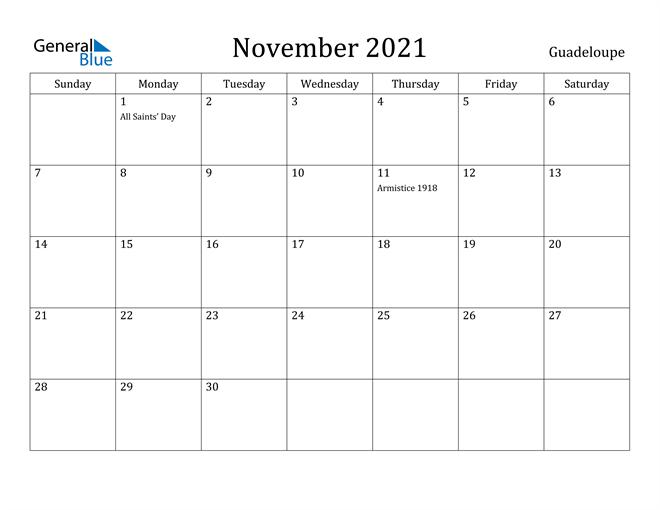 November 2021 Calendar Guadeloupe