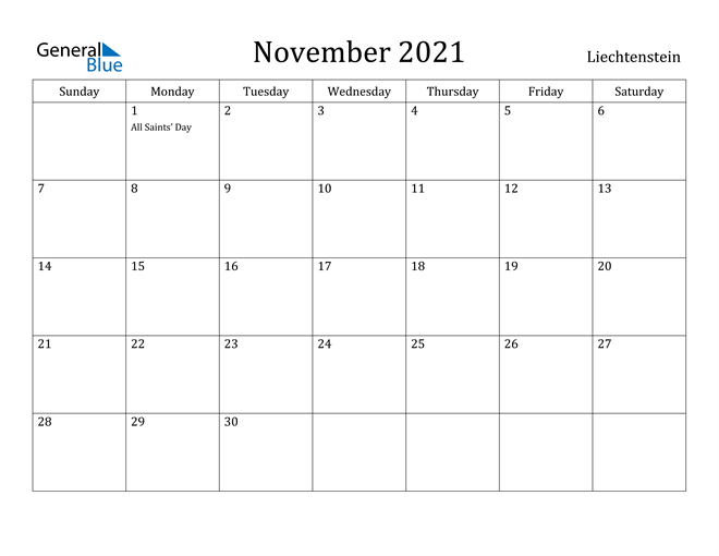 Image of November 2021 Liechtenstein Calendar with Holidays Calendar