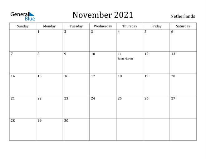 November 2021 Calendar Netherlands