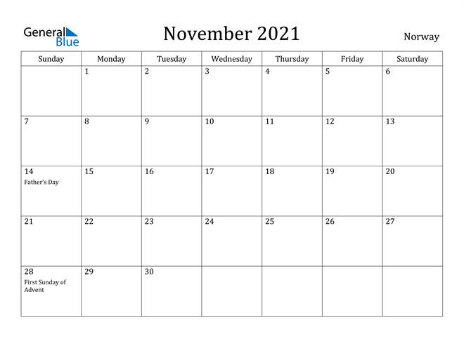 Image of November 2021 Norway Calendar with Holidays Calendar