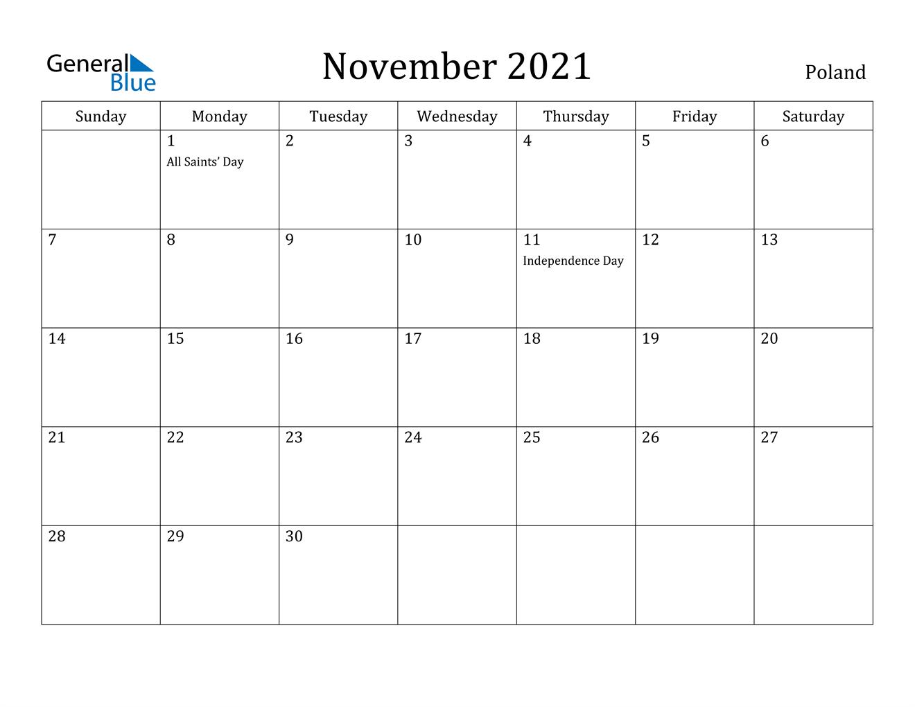 November 2021 Calendar - Poland