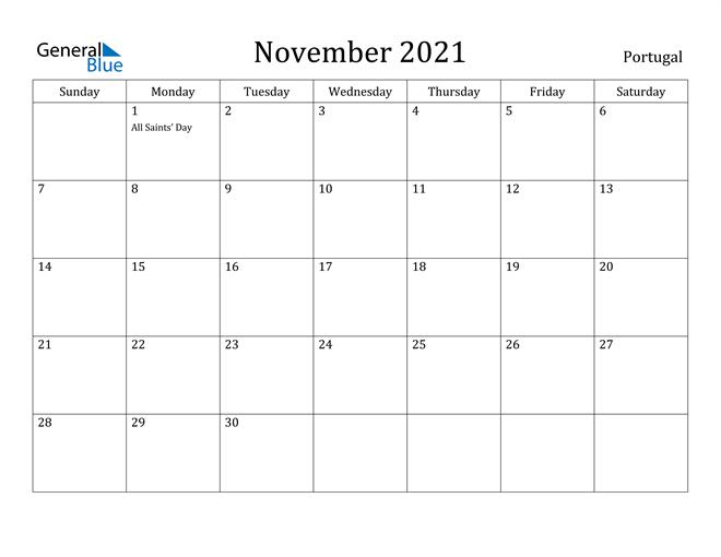November 2021 Calendar Portugal