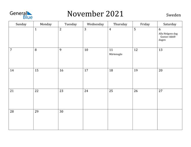 November 2021 Calendar Sweden