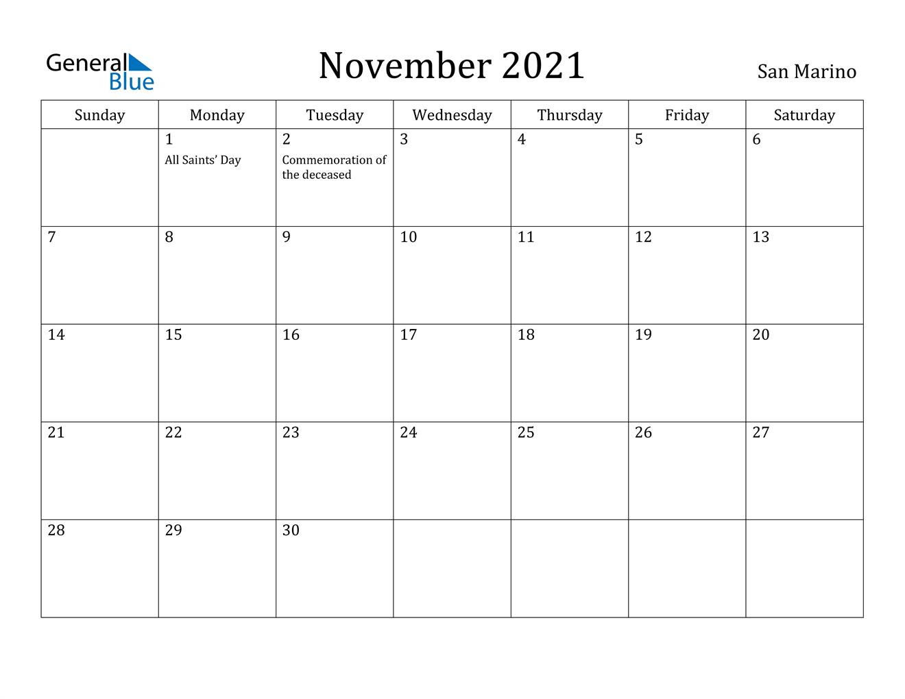 November 2021 Calendar - San Marino