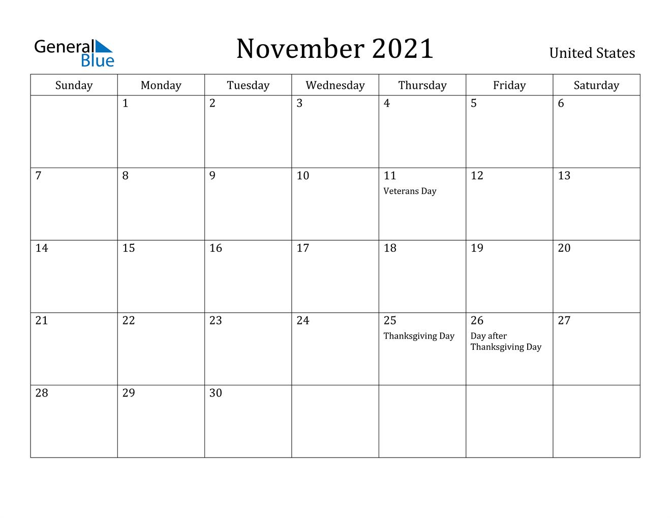 November 2021 Calendar   United States