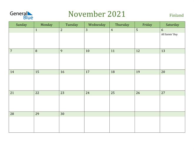 November 2021 Calendar with Finland Holidays