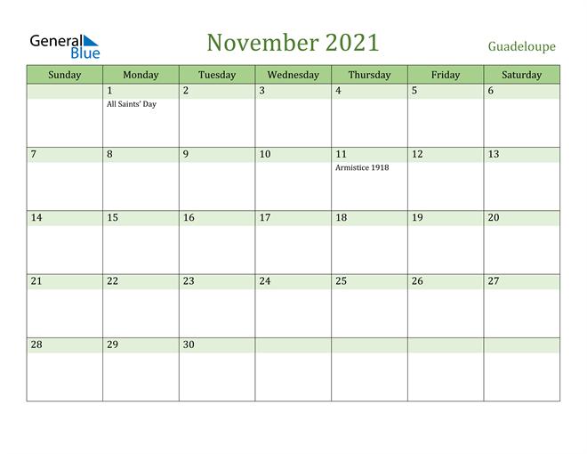 November 2021 Calendar with Guadeloupe Holidays