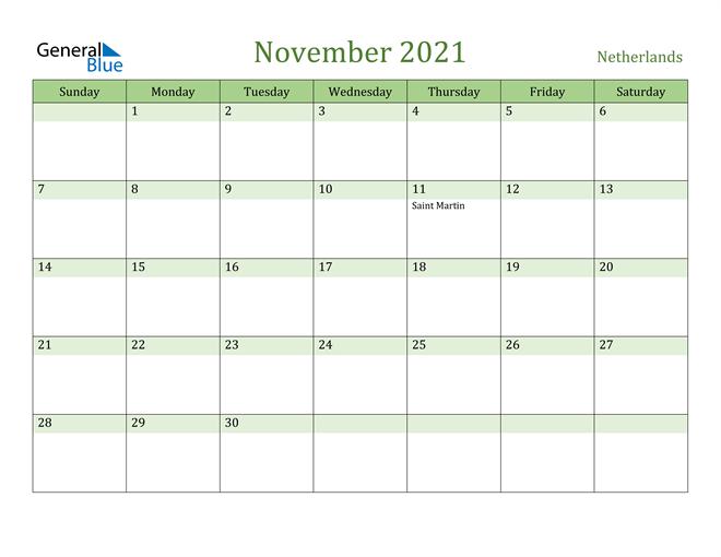 November 2021 Calendar with Netherlands Holidays