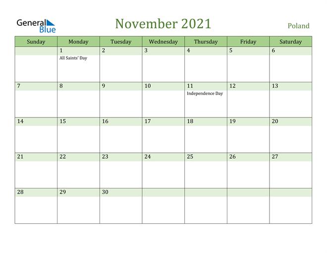 Image of November 2021 Cool and Relaxing Green Calendar Calendar