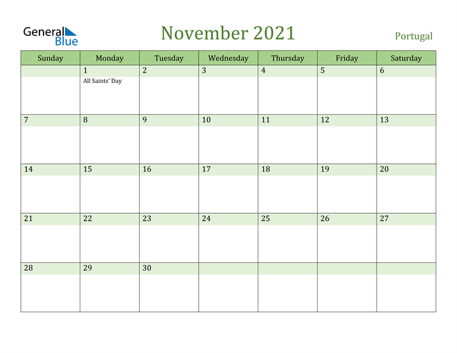November 2021 Calendar with Portugal Holidays
