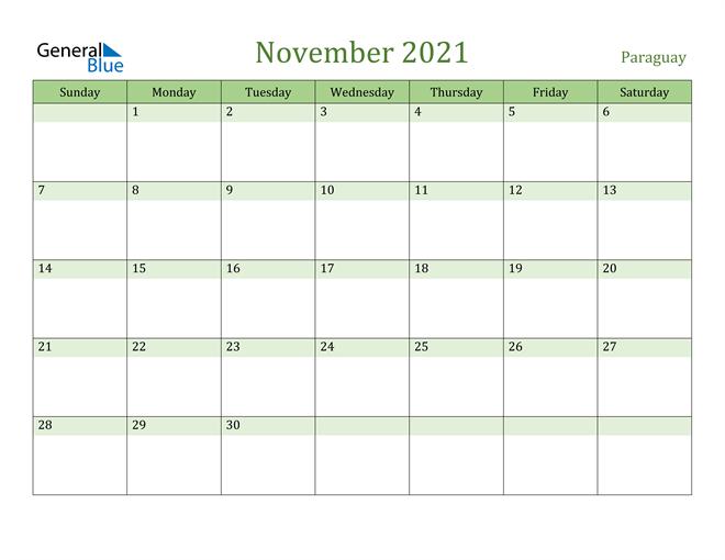 November 2021 Calendar with Paraguay Holidays