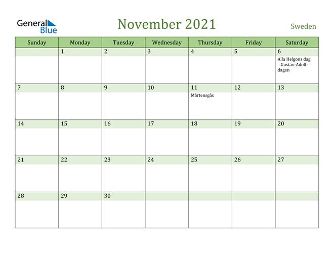 November 2021 Calendar with Sweden Holidays