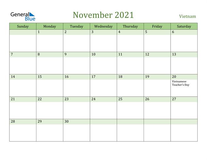 November 2021 Calendar with Vietnam Holidays