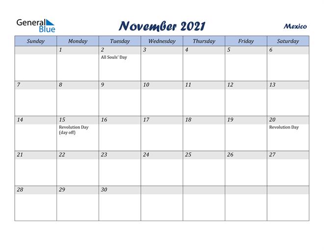 November 2021 Calendar - Mexico