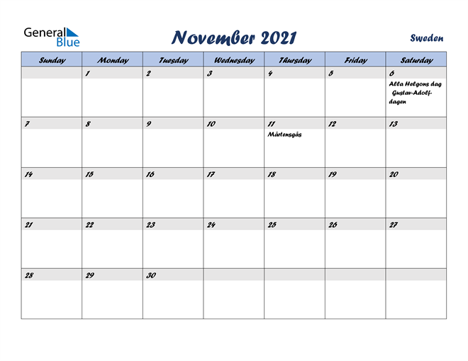 Image of November 2021 Italicized and Cool Blue, A Fun Calendar in PDF, Word and Excel Calendar