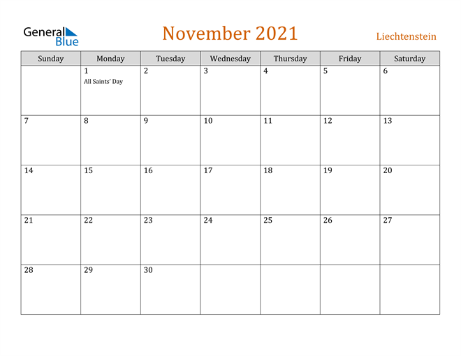 Image of November 2021 Contemporary Orange PDF, Word and Excel Calendar Calendar