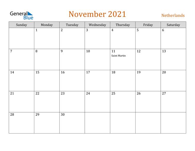 November 2021 Holiday Calendar