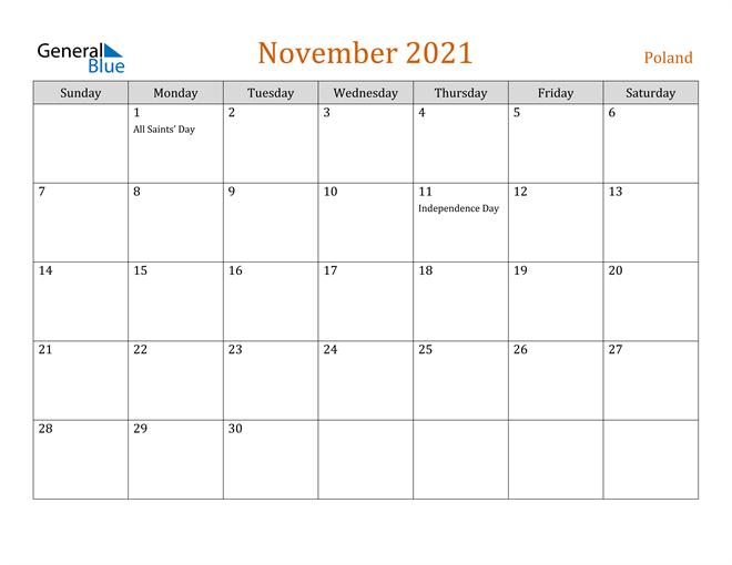 Image of November 2021 Contemporary Orange PDF, Word and Excel Calendar Calendar