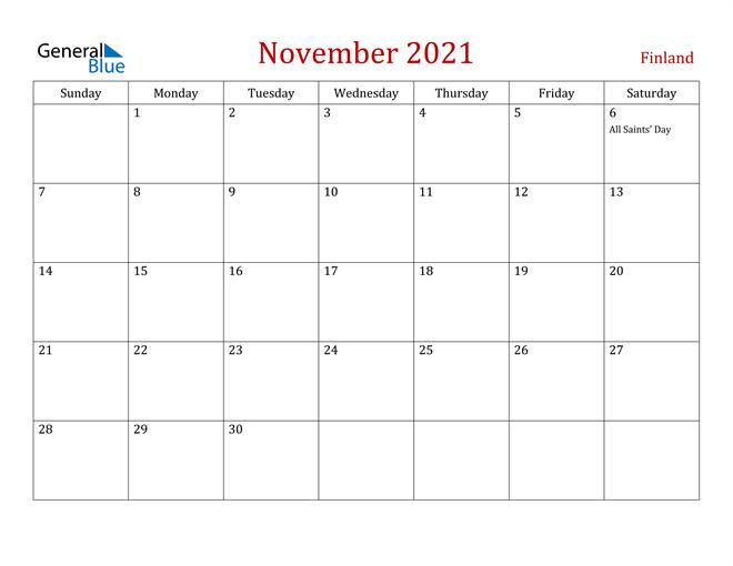 Finland November 2021 Calendar