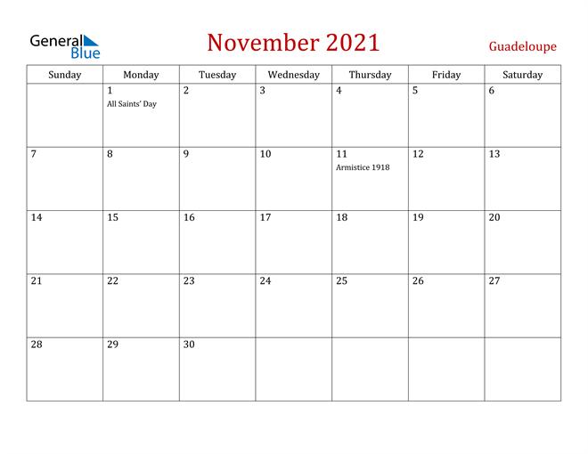 Guadeloupe November 2021 Calendar