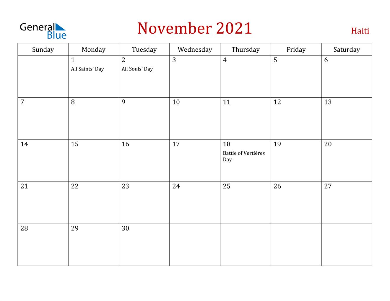 November 2021 Calendar - Haiti