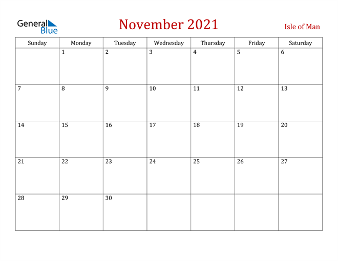 Isle of Man November 2021 Calendar