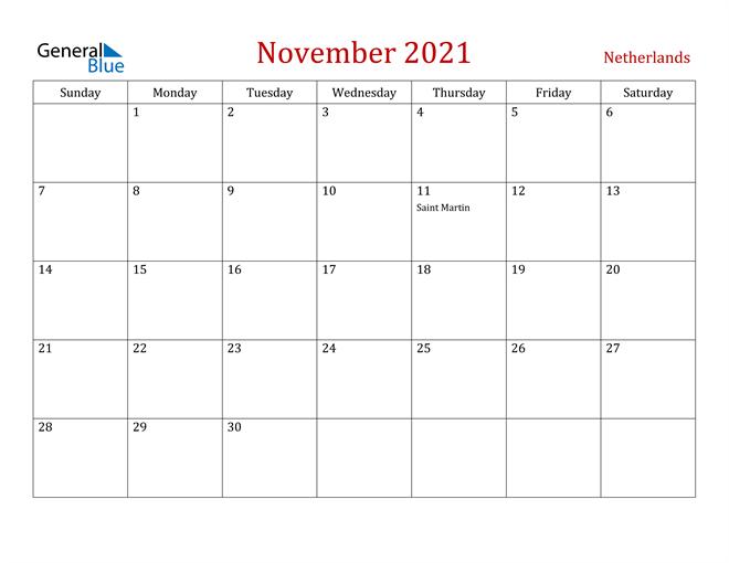Netherlands November 2021 Calendar