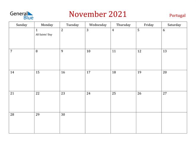 Portugal November 2021 Calendar