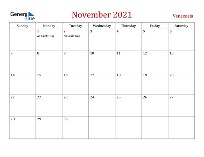 Image of November 2021 Dark and Red Professional Office Calendar Calendar