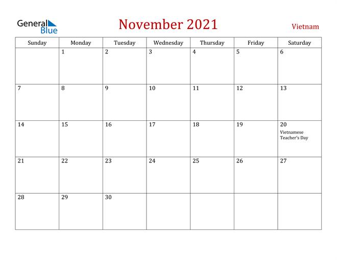 Vietnam November 2021 Calendar