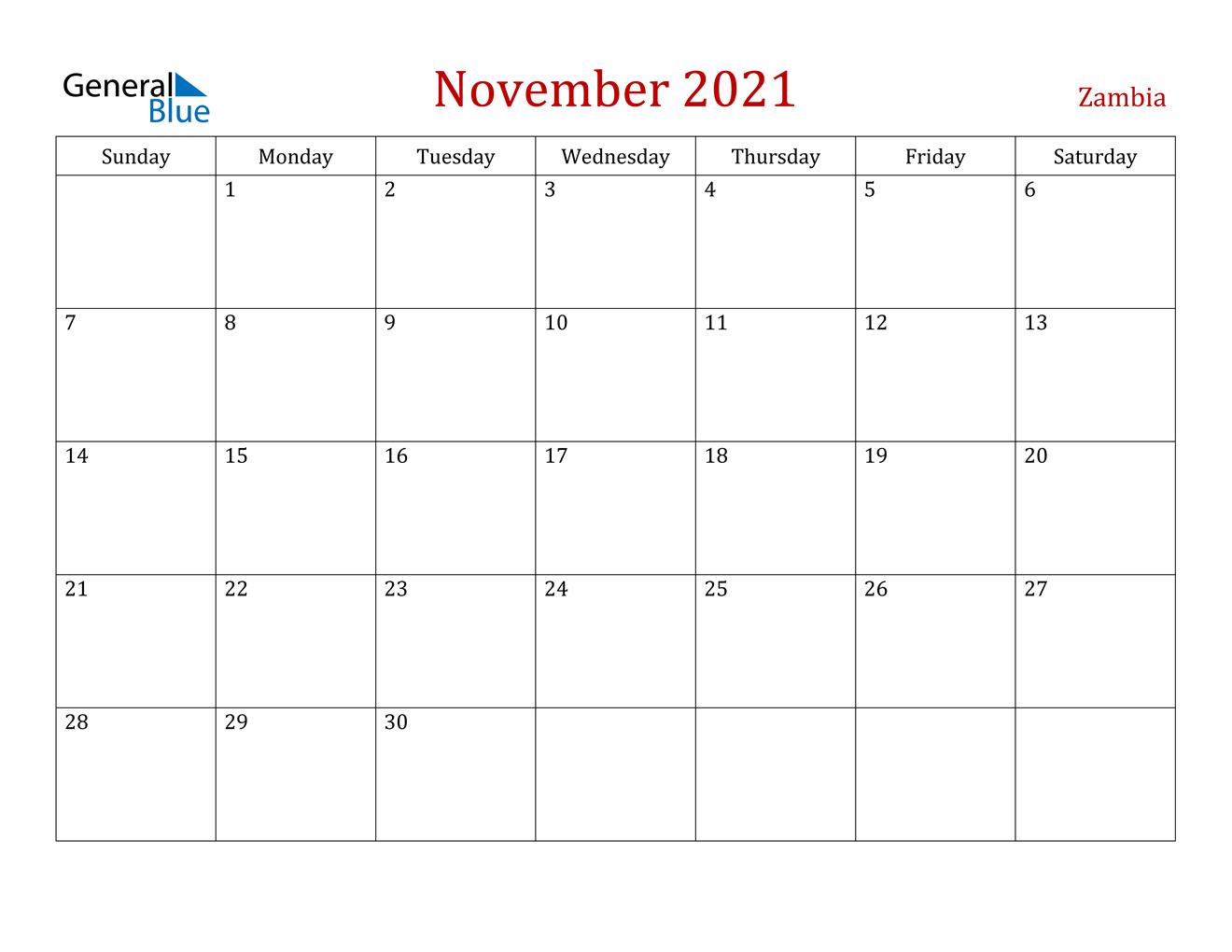 Zambia November 2021 Calendar with Holidays