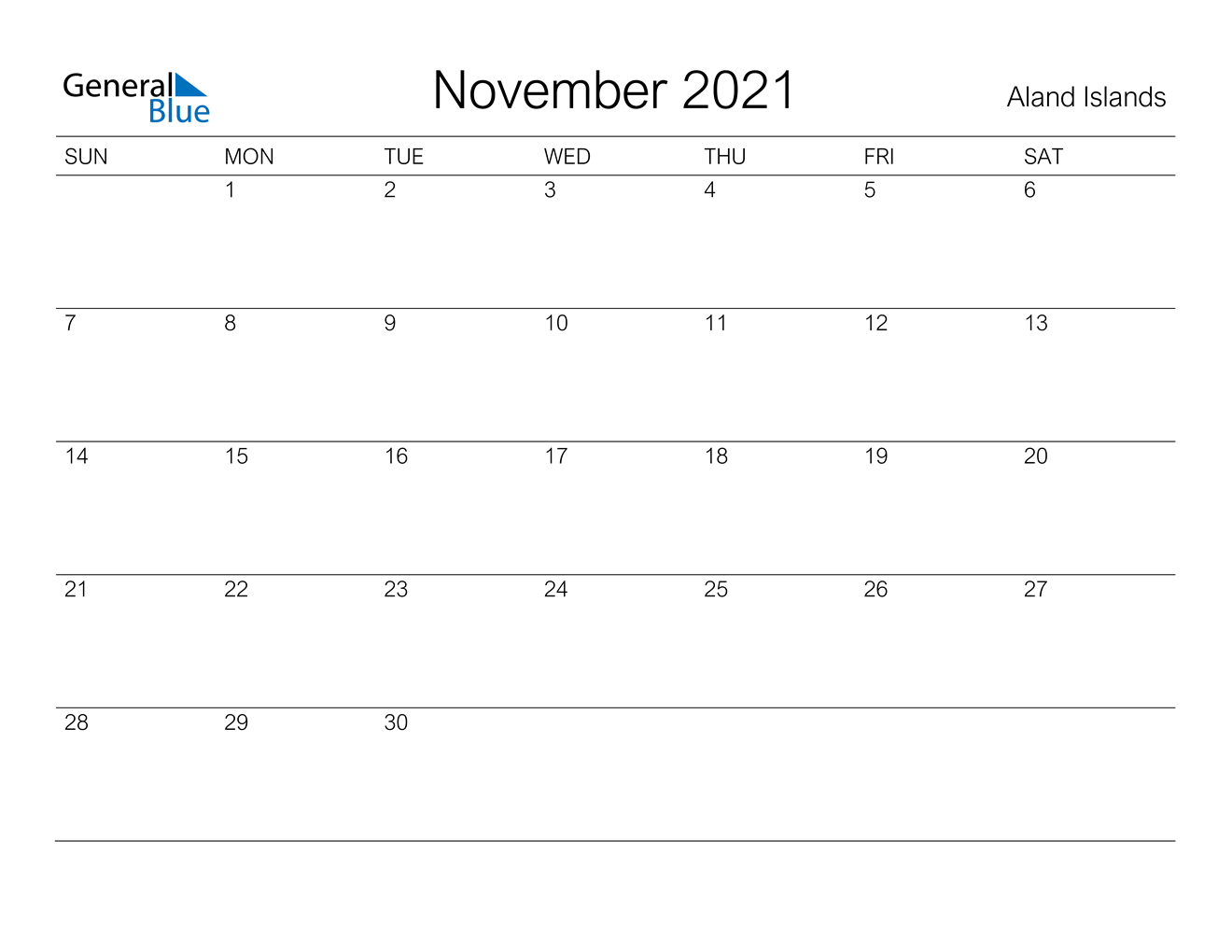 November 2021 Calendar - Aland Islands