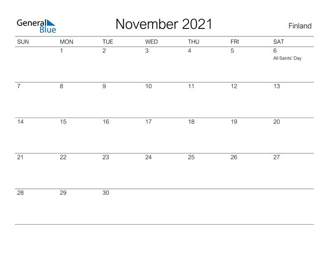 Printable November 2021 Calendar for Finland