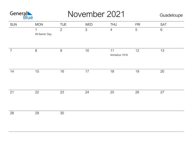 Printable November 2021 Calendar for Guadeloupe