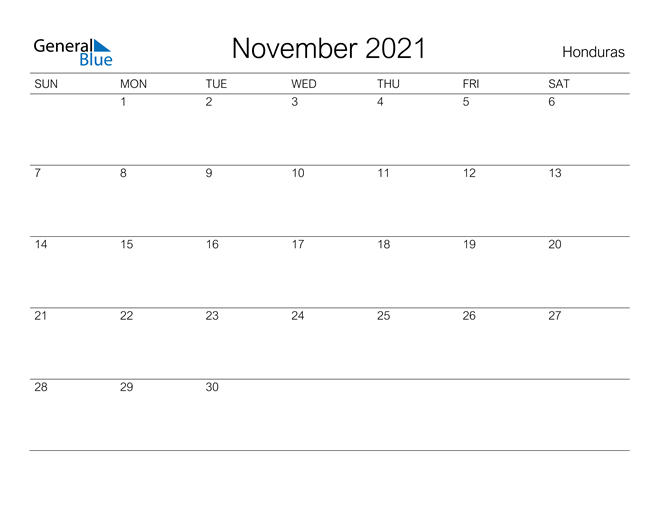 Printable November 2021 Calendar for Honduras