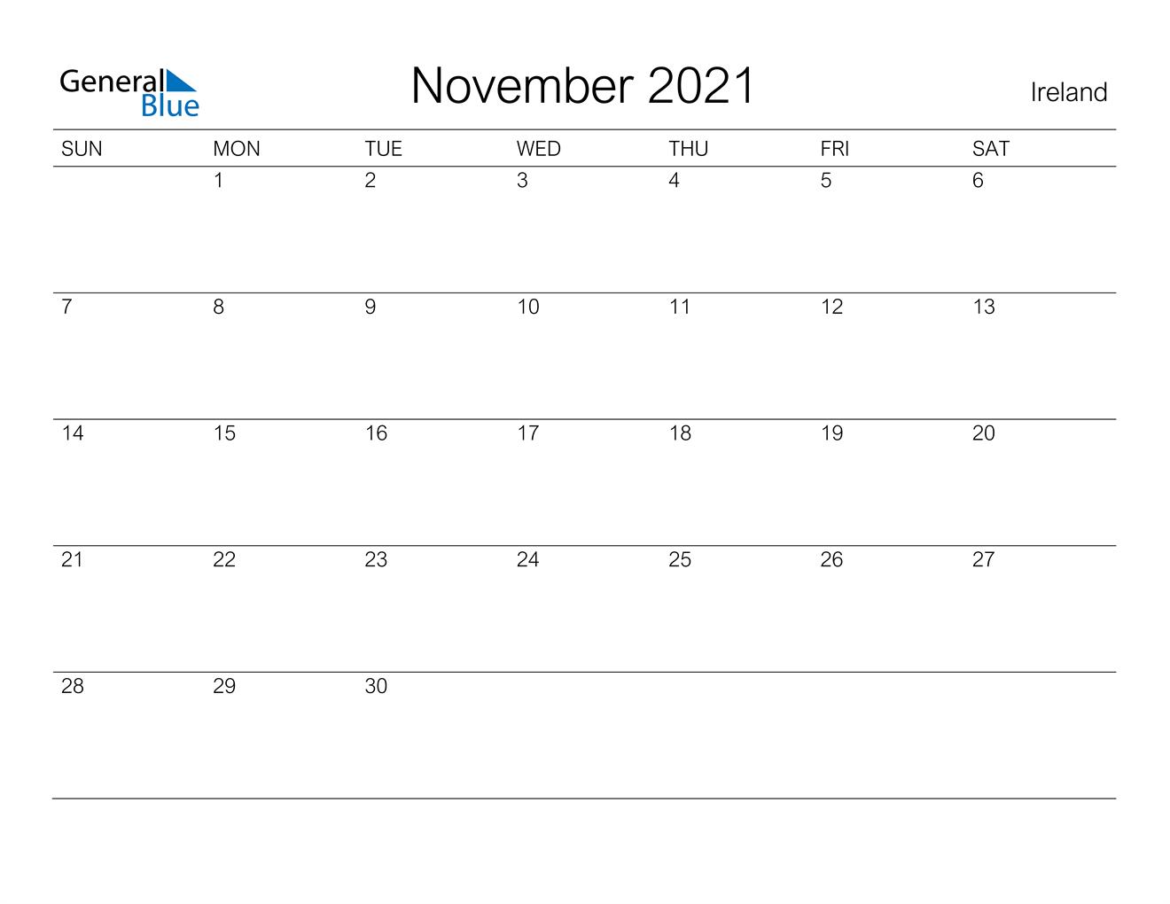 November 2021 Calendar - Ireland