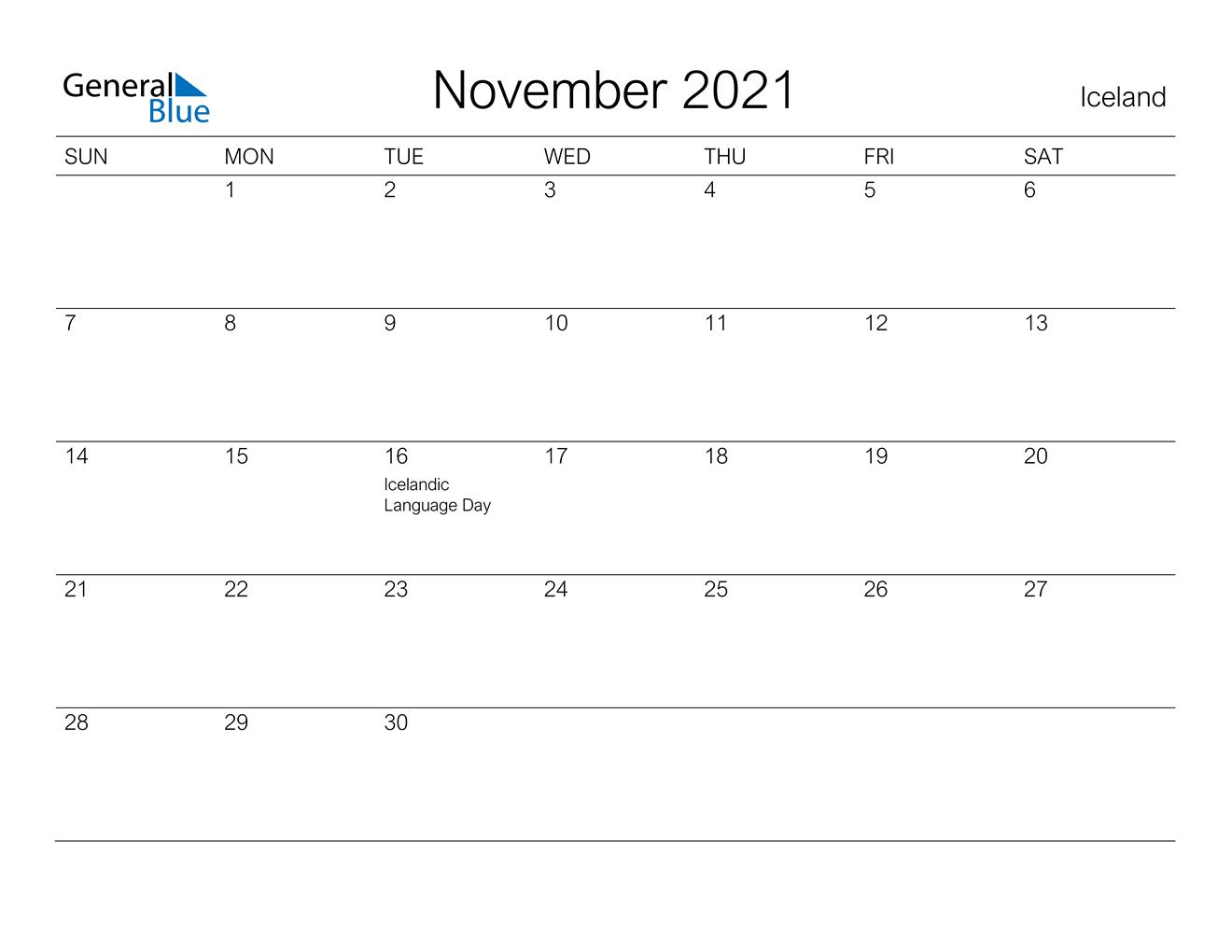 November 2021 Calendar - Iceland