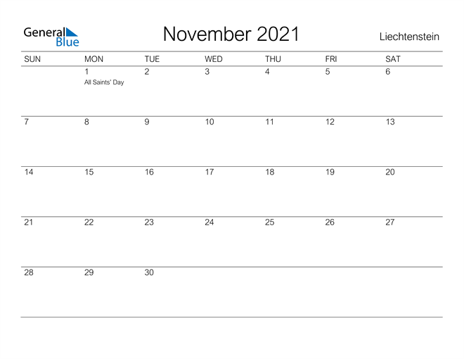 Image of November 2021 A Streamlined Design, The Perfect Printable Calendar. Calendar