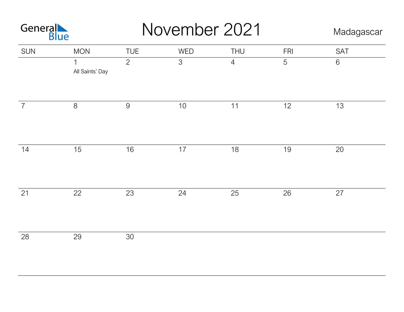 November 2021 Calendar - Madagascar